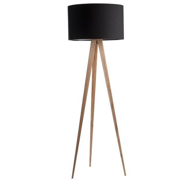 Podna lampa Tripod Wood Black