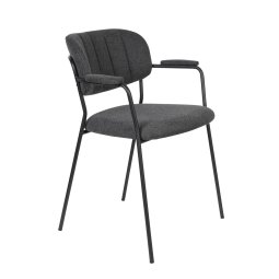 Stolica s rukonaslonom Jolien Black/Dark Grey