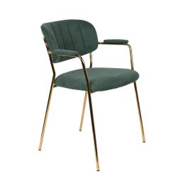 Stolica s rukonaslonom Jolien Gold/Dark Green
