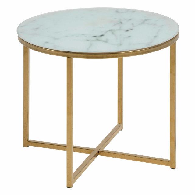 Pomoćni stolić Alisma Round Glass White/Gold