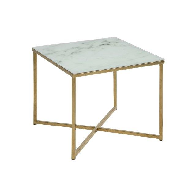 Pomoćni stolić Alisma Square Glass White/Gold