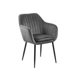 Stolica s rukonaslonom Emilia Velvet Dark Grey/Black