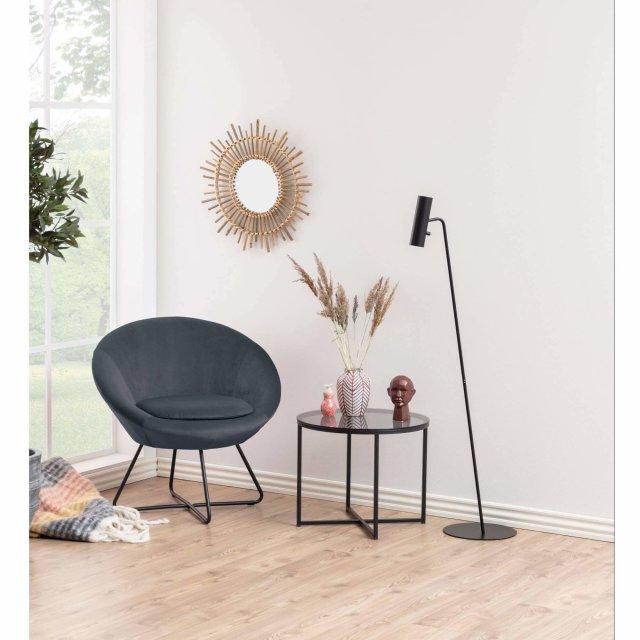 Pomoćni stolić Cross Round Glass Grey/Black