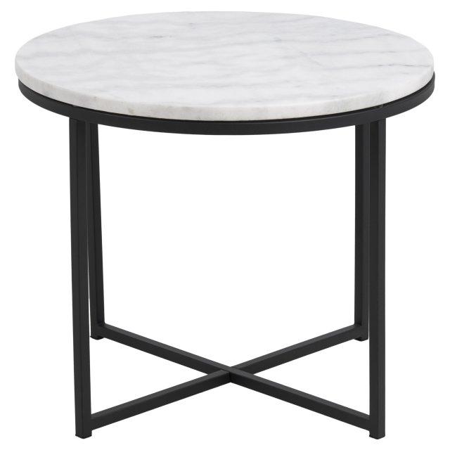 Pomoćni stolić Cross Round Marble White/Black