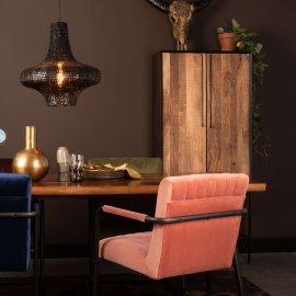 Stolica s rukonaslonom Stitched Velvet Pink