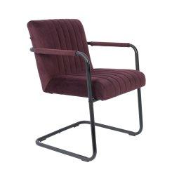 Stolica s rukonaslonom Stitched Velvet Plum