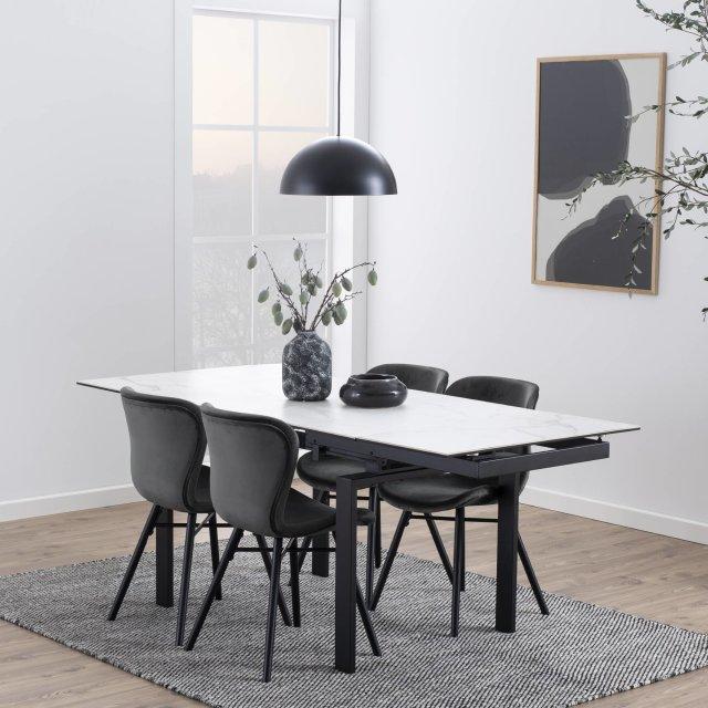 Produljivi stol Huddersfield S 120/200x85 cm White/Black