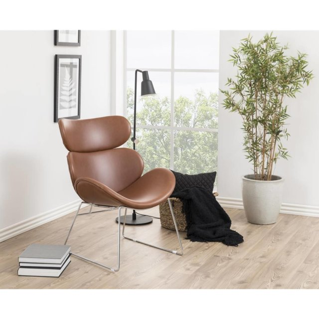 Fotelja Cazar Brown Leather/Chrome