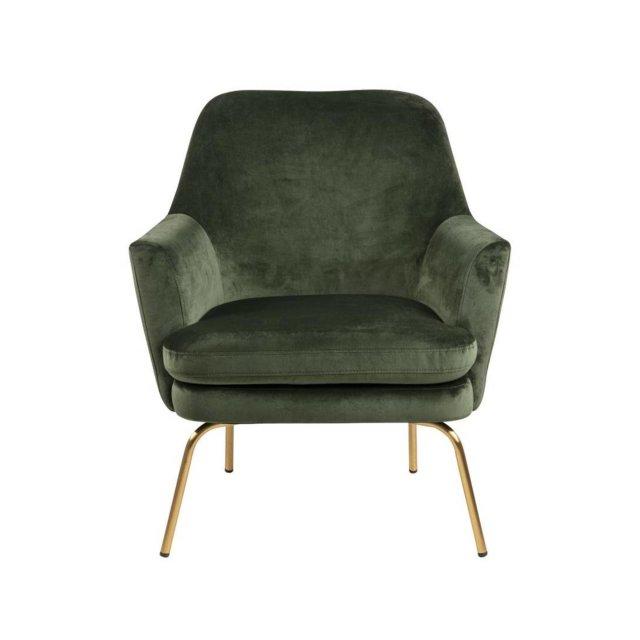 Fotelja Chisa Velvet Forest Green/Gold