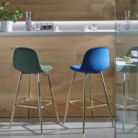 Barska stolica Nilson Velvet Blue/Gold