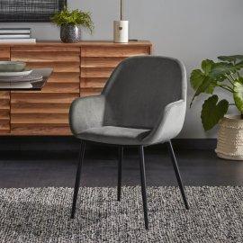 Stolica s rukonaslonom Konna Velvet Grey