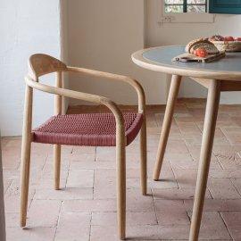 Stolica s rukonaslonom Nina Natural/Pink