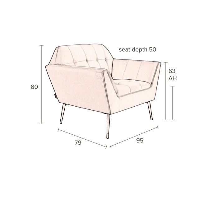 Fotelja Kate Pink Clay