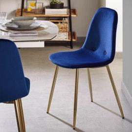 Stolica Lissy Velvet Blue/Gold