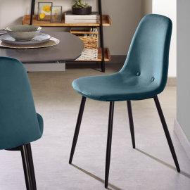 Stolica Lissy Velvet Turquoise/Black