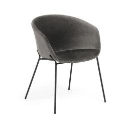 Stolica s rukonaslonom Yvette Velvet Grey