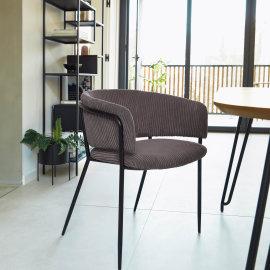 Stolica s rukonaslonom Runnie Corduroy Grey
