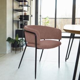 Stolica s rukonaslonom Runnie Corduroy Pink