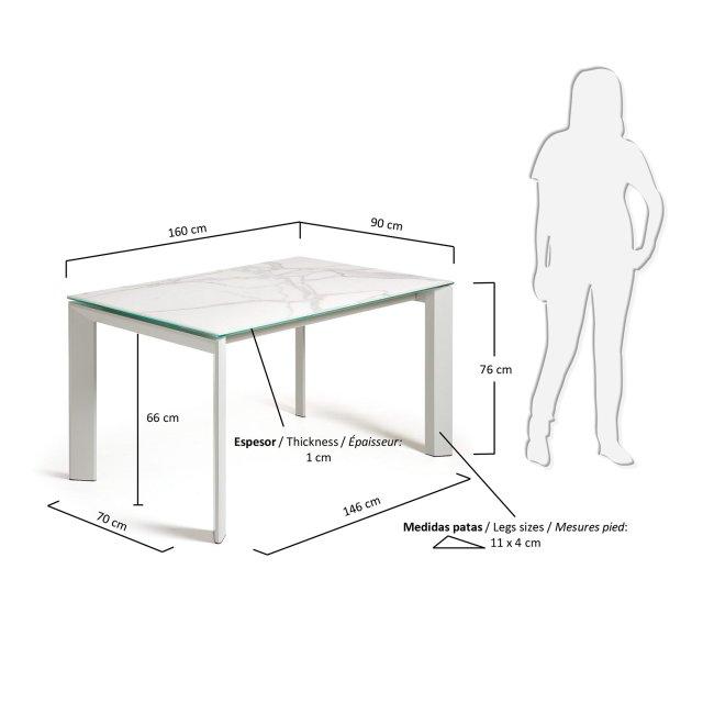 Produljivi stol Atta 160/220x90 cm Ceramic White/Grey