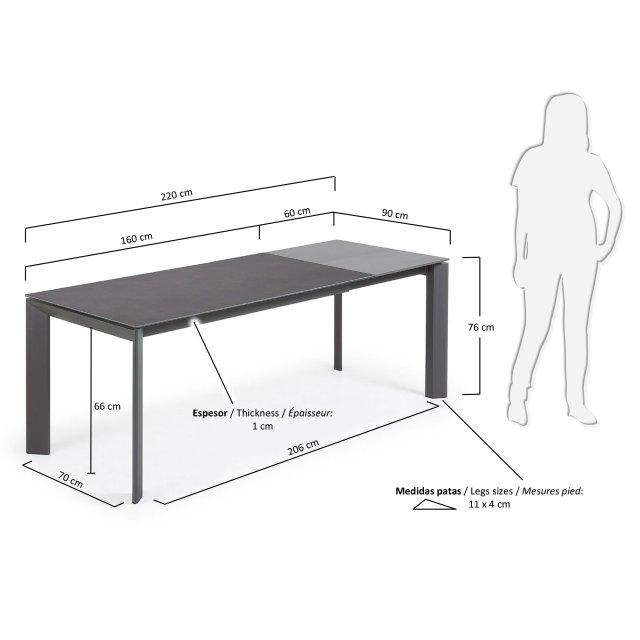 Produljivi stol Atta 160/220x90 cm Ceramic All Dark Grey