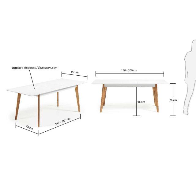 Produljivi stol Meety 160(200)x90 cm