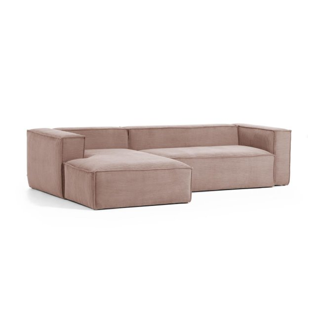 Kutna sofa Blok Left Pink Corduroy
