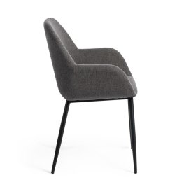 Stolica s rukonaslonom Konna Dark Grey And Black