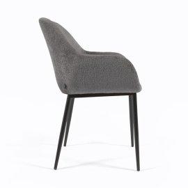 Stolica s rukonaslonom Konna Dark Grey Chenille