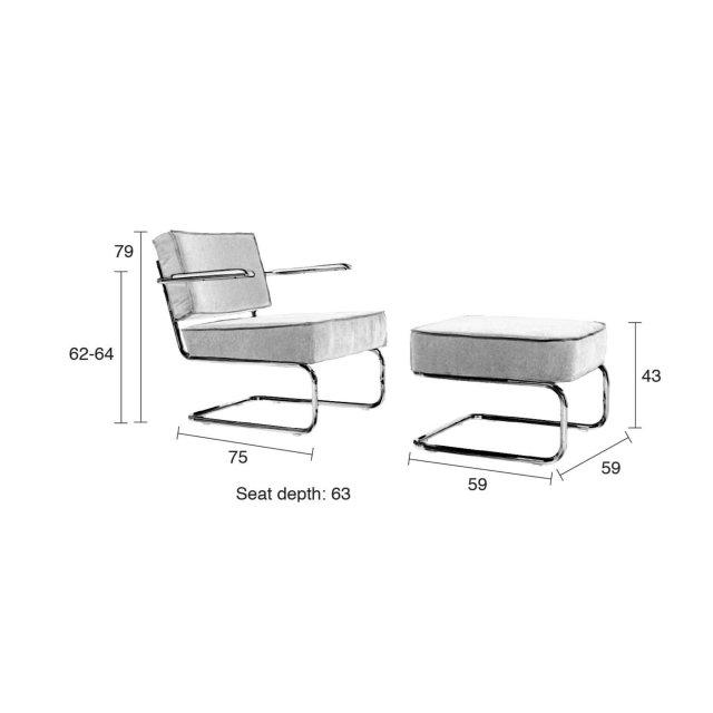 Fotelja Ridge Rib Arm Grey