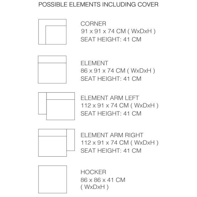Element s rukonaslonom James Rib Cool Grey