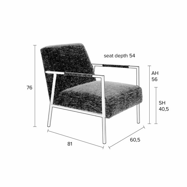 Fotelja Wakasan Dark Grey